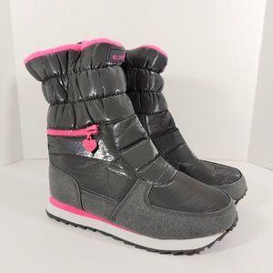Winter Gray & Pink Wedge Zipper Boots Sz 39
